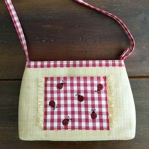Vintage Eitenne Aigner Straw Ladybug Purse
